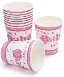 Birthdays & Parties Paper Glass Baby Girl Theme- 10 Pieces