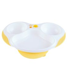 Piyo Piyo Slip Proof Three Section Dining Plate - White And Yellow