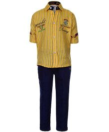 Active Kids Wear Shirt And Pant Yellow - Yacht 1998 Embroidery