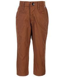 Gini & Jony Full Length Fixed Waist Trouser - Brown