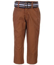 Gini & Jony Fixed Waist Trouser With Belt - Brown