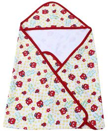 Babyhug Hooded Wrapper - Kitty Print