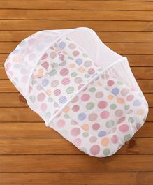 Babyhug Premium Gadda Set With Mosquito Net White - Happy Print
