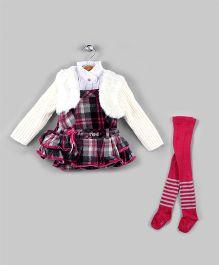 Hot Pink & White 4 Piece Winter Dress Set