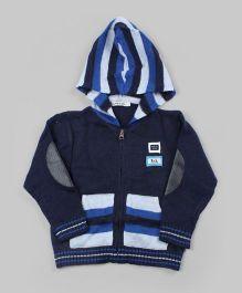 Navy Blue Striped Hoodie Cardigan