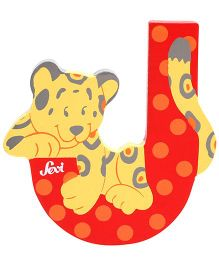 Sevi Wooden Letter Jaguar Alphabet J - Red