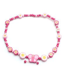Sevi Wooden Necklace Butterfly - Pink