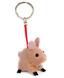 Trudi Key Ring Plush Piggy - Brown