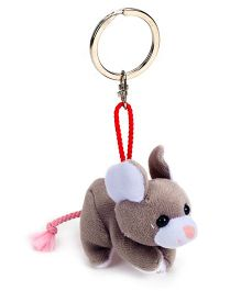 Trudi Key Ring Plush Mouse - White And Grey