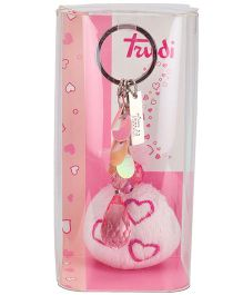 Trudi Key Ring Pom Pom With Heart Design - Pink