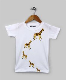 Family Theme Tee Giraffe White for Kids
