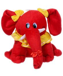 Tickles Elephant Soft Toy With Bow Applique - Red