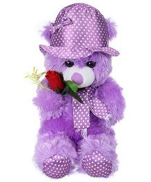 Tickles Teddy Soft Toy With Rose Purple - Height 39 cm