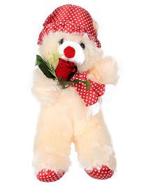 Tickles Teddy Soft Toy With Rose - Cream