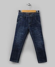 Navy Blue Washed Denim Pants