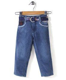 Tippy Full Length Jeans With Belt - Light Blue