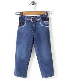 Tippy Full Length Jeans With Belt - Light Blue