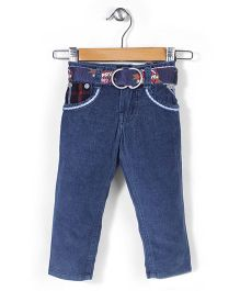 Tippy Full Length Jeans With Belt - Dark Blue
