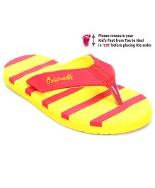 Cute Walk Flip Flops Stripes - Yellow And Red