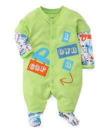 FS Mini Klub Doctor Sleeves Footed Romper  - Light Green