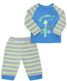 FS Mini Klub Full Sleeves T-Shirt And Pajama Set - Blue
