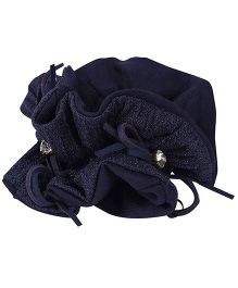 Navy Blue Floral Ponytail Band