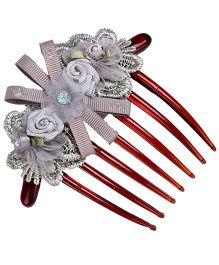 Ash Gray Floral Comb Clip