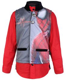 Finger Chips Full Sleeves Shirt With Waistcoat Spiderman Print - Red