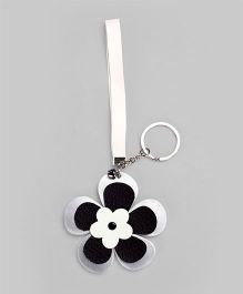 Metallic Silver & Black Floral Key-Chain