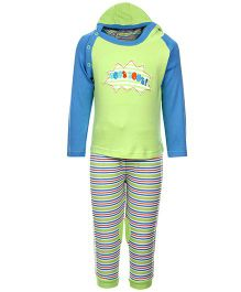 FS Mini Klub Hooded T-Shirt And Leggings Set - Green And Blue