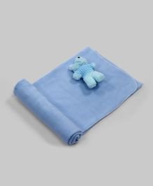 Cool Blue Fleece Blanket with Teddy Plush Toy