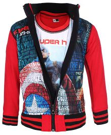 Finger Chips T-Shirt With Jacket - Captain America Print