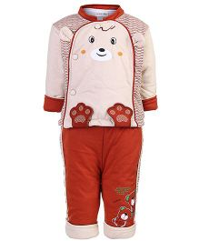 Peridot Plush Top And Leggings Winter Set - Cute Face Design