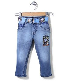 Ed Hardy Full Length Jeans With Belt & Embroidery - Raw Blue