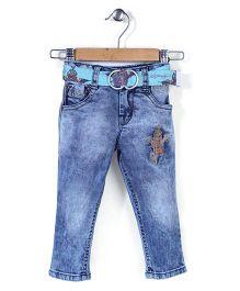 Ed Hardy Full Length Jeans With Belt - Light Blue
