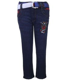 Ed Hardy Full Length Jeans With Belt & Embroidery - Dark Blue