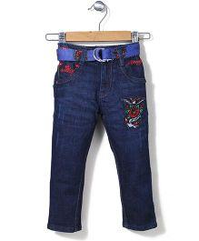 Ed Hardy Full Length Jeans With Belt - Dark Blue