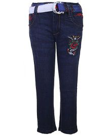 Ed Hardy Full Length Jeans With Belt - Dark Blue