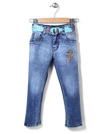 Ed Hardy Full Length Jeans With Belt & Embroidery - Blue