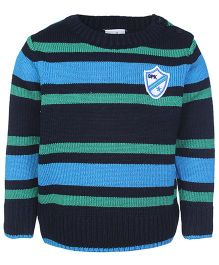 Babyhug Full Sleeves Sweater Black - Stripes Pattern