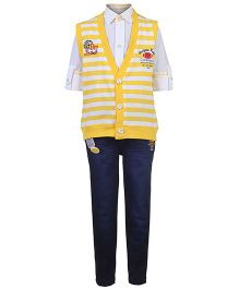 Active Kids Wear Shirt Jeans With Striped Jacket Clubhouse Print - Yellow And White