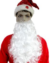 Party In A Box Santa Moustache With Beard - White