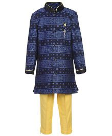 Active Kids Wear Kurta And Pajama Abstract Print - Blue And Yellow