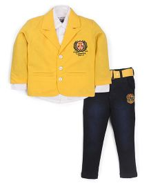 Active Kids Wear Shirt And Jeans With Blazer Brand Design - Yellow And Blue