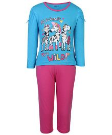 Kanvin Full Sleeves Top And Legging Friends Print - Pink And Blue