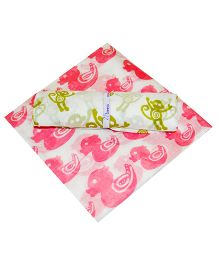Ireeya's Cotton Mulmul Receiving Blanket Pink And Green - Pack Of 2