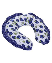 Babyhug Neck Pillow With Frills - Strawberry Print Blue