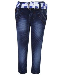 Talent Full Length Jeans With Belts - Blue