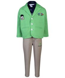 Active Kids Wear Shirt And Trouser With Blazer Racing Flags Print - Green