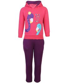 Kanvin Hooded Top And Leggings Set Crane Print - Pink And Purple